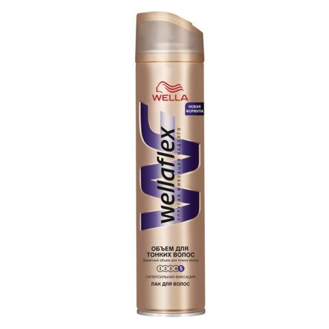 """Лак для волос 250 мл, WELLAFLEX (Веллафлекс) """"Объем для тонких волос"""", суперсильная фиксация"""