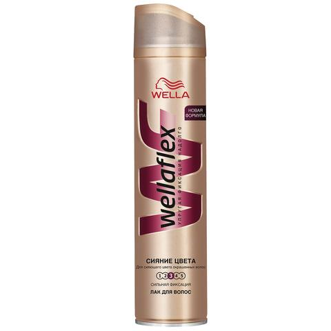 """Лак для волос 250 мл, WELLAFLEX (Веллафлекс) """"Сияние цвета"""", сильная фиксация"""