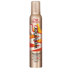 Мусс для волос 200 мл, WELLAFLEX (Веллафлекс) «Горячая укладка», суперсильная фиксация