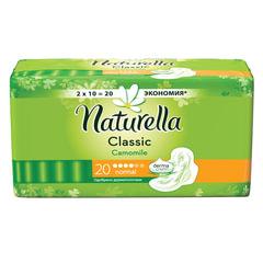 Прокладки женские гигиенические NATURELLA (Натурелла) «Classic Camomile Normal», 20 шт.