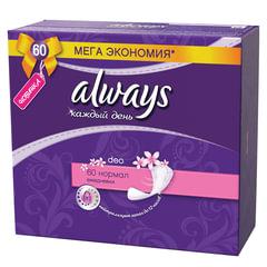 Прокладки женские гигиенические на каждый день ALWAYS (Олвейз) «Normal», 60 шт., ароматизированные