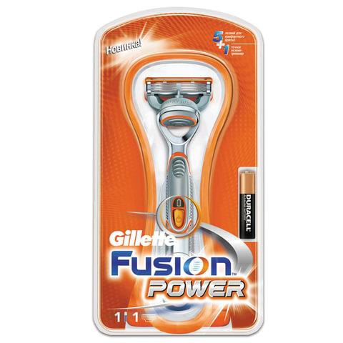 """Бритва GILLETTE (Жиллет) """"Fusion Power"""", с 1 сменной кассетой, для мужчин"""