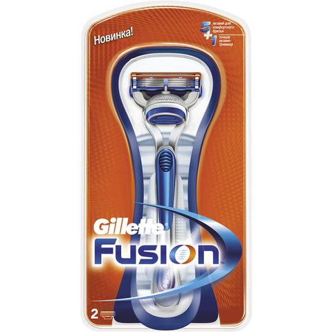 Бритва GILLETTE (Жиллет) «Fusion», с 2 сменными кассетами, для мужчин