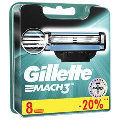 Сменные кассеты для бритья 8 шт., GILLETTE (Жиллет) «Mach3», для мужчин