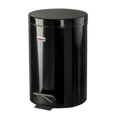 Ведро-контейнер для мусора с педалью ЛАЙМА, 12 л, глянцевое, цвет черный