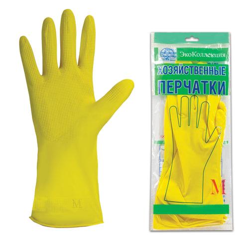Перчатки хозяйственные латексные ЭКОКОЛЛЕКЦИЯ «Эконом», без х/<wbr/>б напыления, рифленная ладонь, размер М (средний)