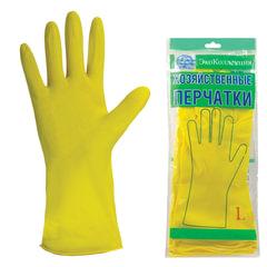 Перчатки хозяйственные латексные ЭКОКОЛЛЕКЦИЯ «Эконом», без х/<wbr/>б напыления, рифленная ладонь, размер L (большой)