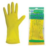 Перчатки хозяйственные латексные ЭКОКОЛЛЕКЦИЯ «Эконом», без х/<wbr/>б напыления, рифленная ладонь, размер XL (очень большой)