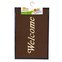 Коврик входной ворсовый влаго-грязезащитный ЛАЙМА/<wbr/>ЛЮБАША, 60×90 см, толщина 7 мм, коричневый, «Добро пожаловать»
