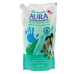 Мыло-крем жидкое 500 мл, AURA BIO, антибактериальное, «Сок алое», упаковка дой-пак, для дозаторов