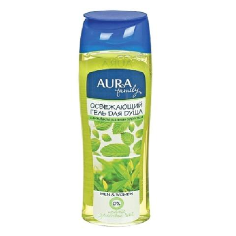Гель для душа 260 мл, AURA, освежающий, защищает и увлажняет кожу, «Экстракт зеленого чая и мяты»
