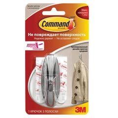 Крючок самоклеящийся COMMAND легкоудаляемый, средний, хромированный, до 1,35 кг