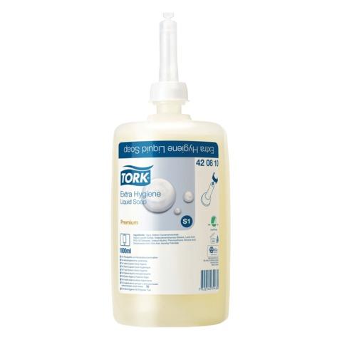 Картридж с жидким мылом одноразовый TORK (Система S1) Premium, 1 л, антибактериальный эффект, 420810