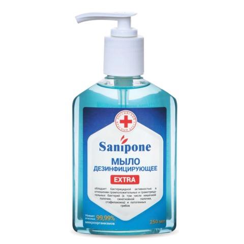 Мыло жидкое дезинфицирующее, 250 мл, SANIPONE «Extra» (САНИПОН «Экстра»), дозатор