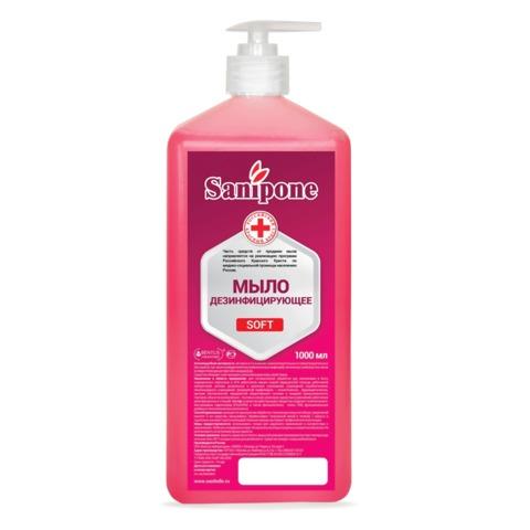 Мыло жидкое дезинфицирующее, 1 л, SANIPONE «Soft» (САНИПОН «Софт»), дозатор