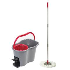 Набор для уборки ЛАЙМА, ведро 7 л с отжимом и педалью, швабра с круглой насадкой (2 шт.)