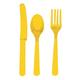 Многоразовые приборы (ножи, вилки, ложки), набор 24 шт., пластик, желтый цвет