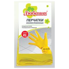 Перчатки хозяйственные латексные ЛЮБАША «Эконом», с х/<wbr/>б напылением, рифленая ладонь, размер XL (очень большой)