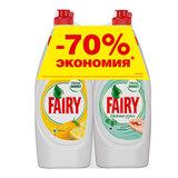 Промонабор: средство для мытья посуды FAIRY «Сочный Лимон» 0,65 л + FAIRY «Нежные руки, чайное дерево и мята» 0,65 л