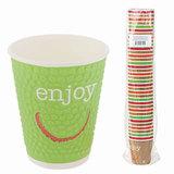Одноразовые стаканы «Хухтамаки», комплект 37 шт., бумажные двухслойные, 300 мл, «Enjoy», цветная печать, для холодного/<wbr/>горячего