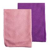 Салфетки универсальные из микрофибры ОФИСМАГ, комплект 2 шт., 25×25 см, фиолетовая + розовая