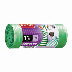 Мешки для мусора, 35 л, комплект 20 шт., рулон, ПНД, 53×60 см, 12 мкм, бело-зеленые, PACLAN «Zebrastic»