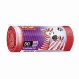 Мешки для мусора, 60 л, комплект 15 шт., рулон, ПНД, 63×72 см, 15 мкм, бело-красные, PACLAN «Zebrastic»