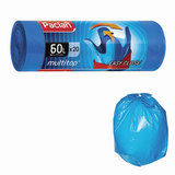 Мешки для мусора, 60 л, комплект 20 шт., рулон, ПВД, 60×77 см, 14 мкм, с ушками, синие, PACLAN «Multitop»
