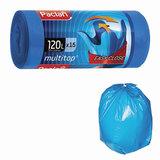 Мешки для мусора, 120 л, комплект 15 шт., рулон, ПВД, 70×118 см, 24 мкм, с ушками, синие, PACLAN «Multitop»
