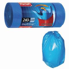 Мешки для мусора, 240 л, комплект 10 шт., рулон, ПВД, 90×145 см, 40 мкм, с ушками, синие, PACLAN «Multitop»