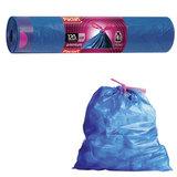 Мешки для мусора, 120 л, комплект 10 шт., рулон, ПВД, 74×96 см, 39 мкм, с завязками, синие, PACLAN «Premium»