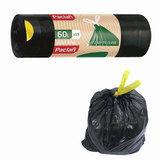 Мешки для мусора, 60 л, комплект 15 шт., рулон, ПВД, 60×72 см, 25 мкм, с завязками, черные, PACLAN «Eco Line»