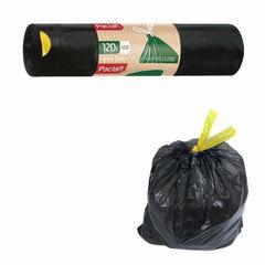 Мешки для мусора, 120 л, комплект 10 шт., рулон, ПВД, 70×100 см, 30 мкм, с завязками, черные, PACLAN «Eco Line»