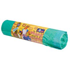 Мешки для мусора 50 л, комплект 20 шт., рулон, ПНД, с завязками, 57×60 см, 13 мкм, YORK AZUR, зеленые