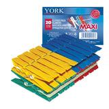 Прищепки бельевые пластиковые, комплект 20 шт., увеличенные, универсальные, цвет ассорти, YORK «Maxi»