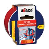 Клейкая лента светоотражающая 48 мм х 5 м, красно-белая, UNIBOB, износоустойчивая, европодвес