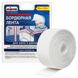 Клейкая лента бордюрная для ванн и раковин 38 мм х 3,35 м, UNIBOB, белая, блистер