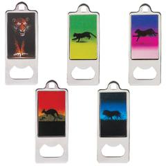Открывалка металлическая BRAUBERG, 36×96 мм, объемное 3D-изображение, «Животные», ассорти (5 видов)