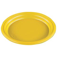 Одноразовая тарелка «Эконом», 1 шт., плоская, d — 165 мм, полистирол (ПС), желтая, для холодного/<wbr/>горячего, СТИРОЛПЛАСТ