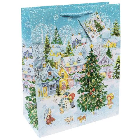 """Пакет подарочный ламинированный, 17,8х22,9х9,8 см, """"Новогодняя площадь"""""""