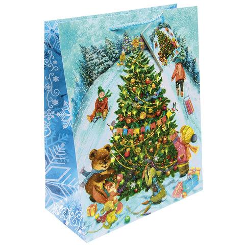 """Пакет подарочный ламинированный, 26х32,4х12,7 см, """"Новогодние гуляния"""""""