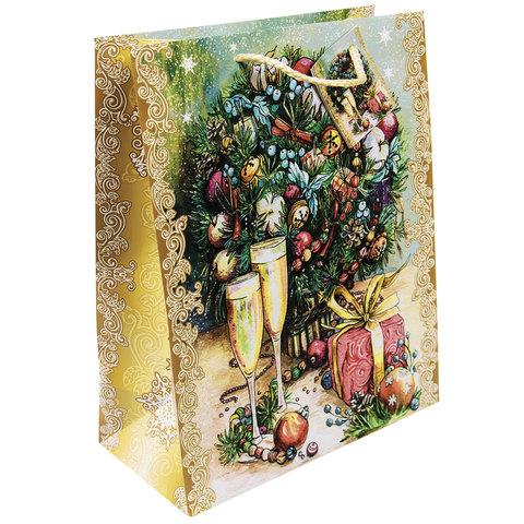 """Пакет подарочный ламинированный, 26х32,4х12,7 см, """"Шампанское у елки"""""""
