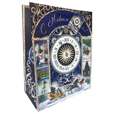 """Пакет подарочный ламинированный, 40,6х48,9х19 см, """" Новогодние часы"""""""