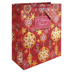 Пакет подарочный ламинированный, 26×32,4×12,7 см, «Золото на красном», плотный, с тиснением, 250 г/<wbr/>м<sup>2</sup>
