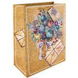 Пакет подарочный ламинированный, 26×32,4×12,7 см, «Еловый букет», плотный, глиттер