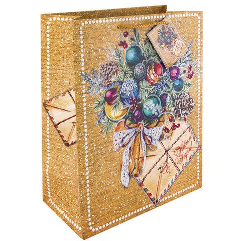 """Пакет подарочный ламинированный, 26х32,4х12,7 см, """"Еловый букет"""", плотный, глиттер, 250 г/м2"""
