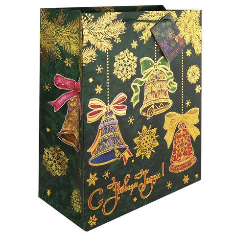 """Пакет подарочный ламинированный, 26х32,4х12,7 см, """"Елки"""", плотный, с тиснением"""