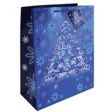 Пакет подарочный ламинированный, 17,8×22,9×9,8 см, «Елочка в голубом», с тиснением
