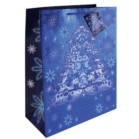 """Пакет подарочный ламинированный, 17,8х22,9х9,8 см, """"Елочка в голубом"""", с тиснением"""