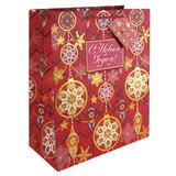 Пакет подарочный ламинированный, 17,8×22,9×9,8 см, «Золото на красном», с тиснением